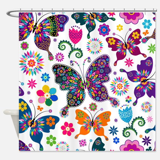 Colorful Flowers And Butterflies Pattern Shower Cu