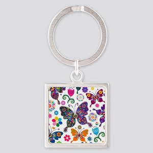 Colorful Flowers And Butterflies Pattern Keychains