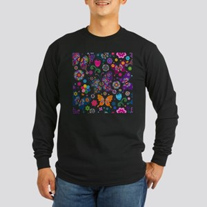 Colorful Flowers And Butterflies Pattern Long Slee