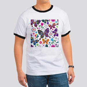Colorful Flowers And Butterflies Pattern T-Shirt