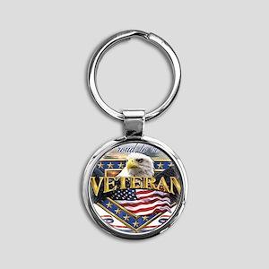 veteran Round Keychain