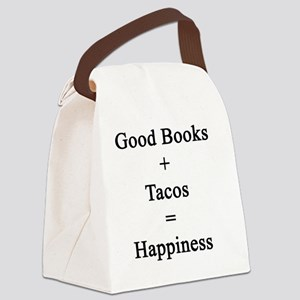 Good Books + Tacos = Happiness  Canvas Lunch Bag