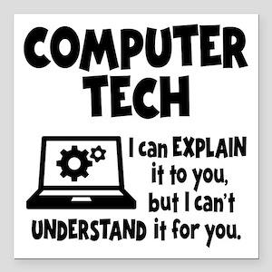 """COMPUTER TECH Square Car Magnet 3"""" x 3"""""""