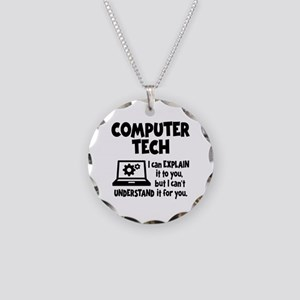 COMPUTER TECH Necklace Circle Charm
