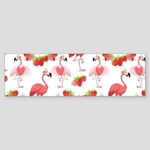 Strawberry Flamingos - (bumper) Bumper Sticker