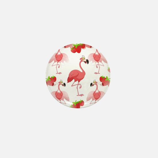 Strawberry Flamingos - Mini Button