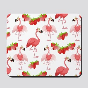 Strawberry Flamingos - Mousepad