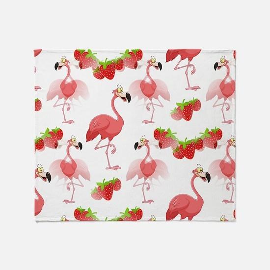 Strawberry Flamingos - Throw Blanket