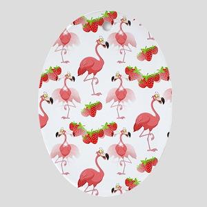 Strawberry Flamingos - Ornament (Oval)
