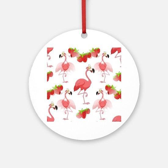 Strawberry Flamingos - Ornament (Round)