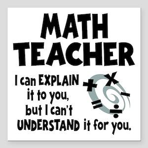 """MATH TEACHER Square Car Magnet 3"""" x 3"""""""