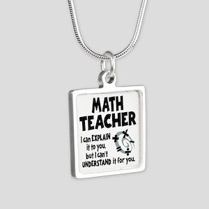 MATH TEACHER Silver Square Necklace