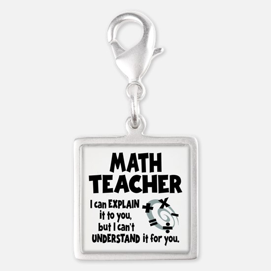 MATH TEACHER Silver Square Charm
