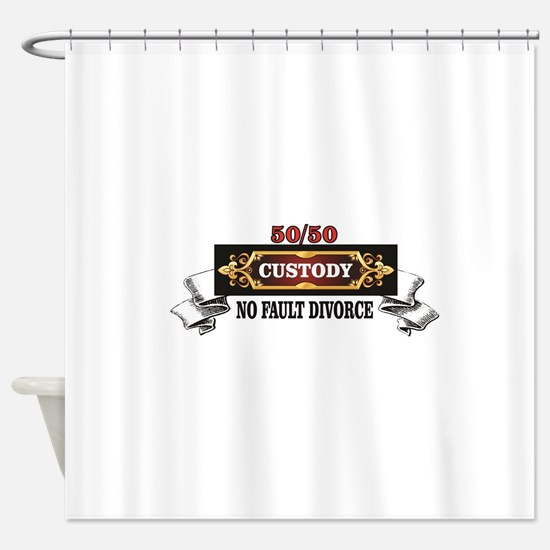 50 50 custody red save marriages Shower Curtain