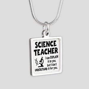 SCIENCE TEACHER Silver Square Necklace