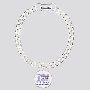 Male Breast Cancer Means Charm Bracelet, One Charm
