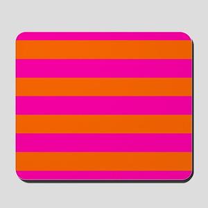 Orange + hot pink stripes Mousepad