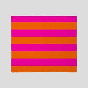 Orange + hot pink stripes Throw Blanket