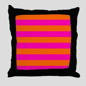 Orange + hot pink stripes Throw Pillow