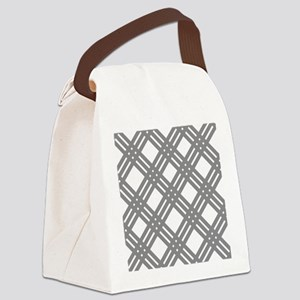 Gray Gingham Lattice Canvas Lunch Bag