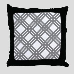 Gray Gingham Lattice Throw Pillow