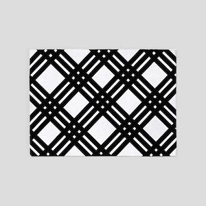 Black and White Gingham Lattice 5'x7'Area Rug