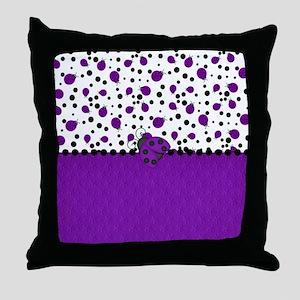 Fun Purple Ladybugs Throw Pillow