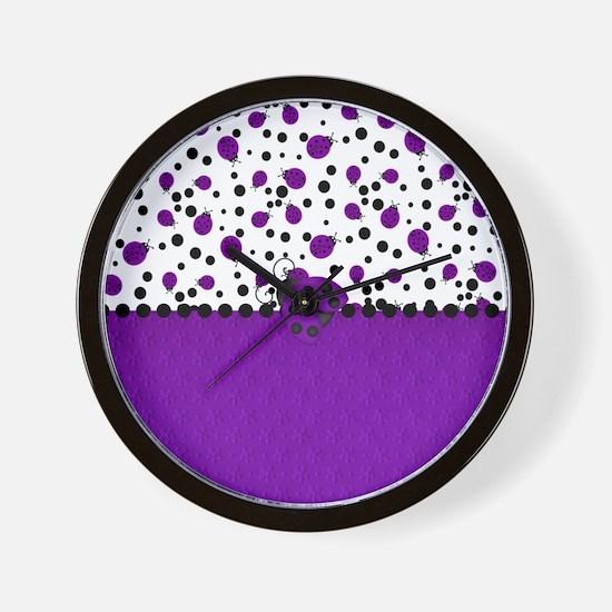 Fun Purple Ladybugs Wall Clock