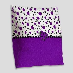 Fun Purple Ladybugs Burlap Throw Pillow