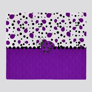 Fun Purple Ladybugs Throw Blanket