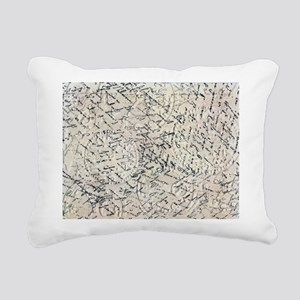 Antique Script Collage Rectangular Canvas Pillow