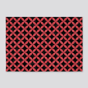CIRCLES3 BLACK MARBLE & RED COLORED 5'x7'Area Rug