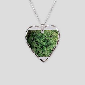Marajuana Weed Pot Necklace Heart Charm
