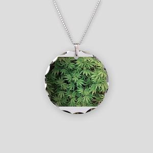 Marajuana Weed Pot Necklace Circle Charm