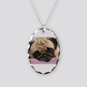 Pug Puppy Necklace Oval Charm