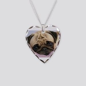 Pug Puppy Necklace Heart Charm