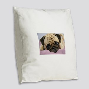 Pug Puppy Burlap Throw Pillow