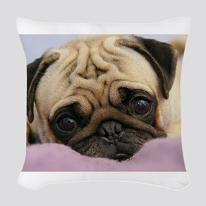 Pug Puppy Woven Throw Pillow