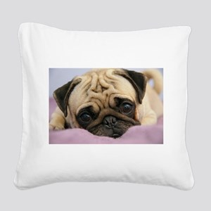 Pug Puppy Square Canvas Pillow