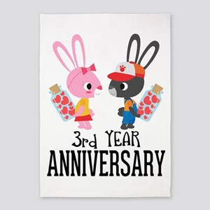 3rd Anniversary Couple Bunnies 5'x7'Area Rug