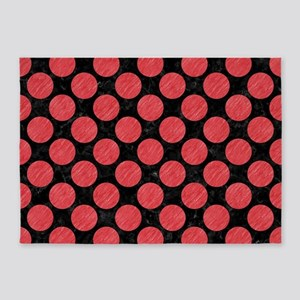 CIRCLES2 BLACK MARBLE & RED COLORED 5'x7'Area Rug