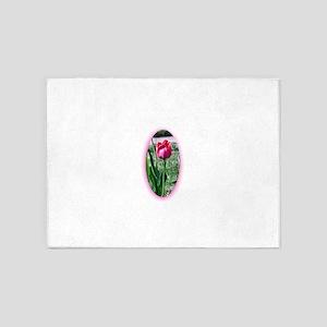 Fushia tulip cutout 5'x7'Area Rug