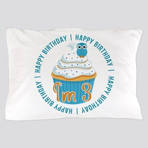 3rd Birthday Owl and Cupcake Pillow Case