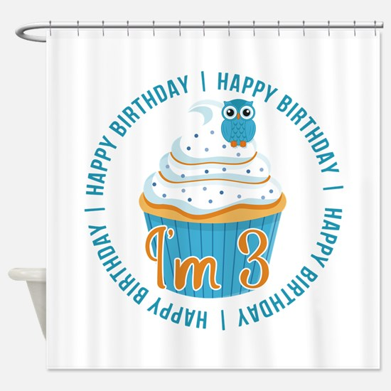 3rd Birthday Owl and Cupcake Shower Curtain