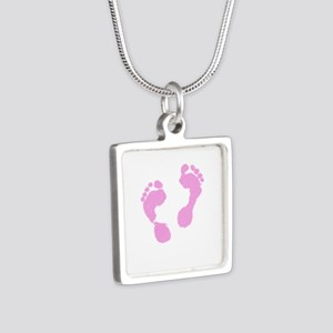 Cute Pink Baby Girl Footprints Maternity Necklaces