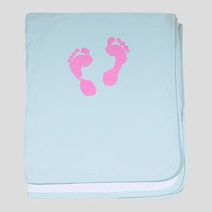 Cute Pink Baby Girl Footprints Matern baby blanket