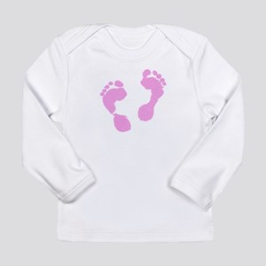 Cute Pink Baby Girl Footprints Long Sleeve T-Shirt