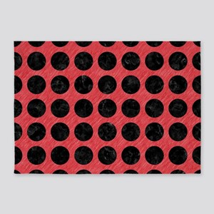 CIRCLES1 BLACK MARBLE & RED COLORED 5'x7'Area Rug