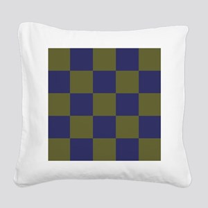 Blue and Olive Checkerboard Square Canvas Pillow