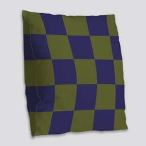 Blue and Olive Checkerboard Burlap Throw Pillow
